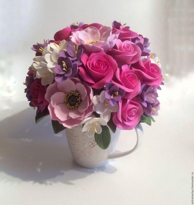 Купить Букет с цветами из полимерной глины Удовольствие - розовый, сиреневый, нежно-розовый, анемоны, анемон