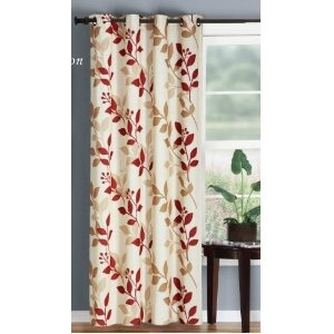 beige, red, & white leaf curtains