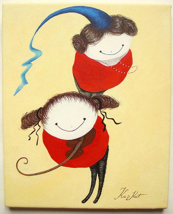 Artwork on canvas Prinsesa & Violina by kuskatdesigns on Etsy, €73.00