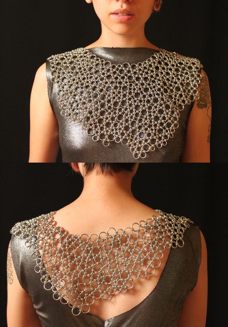 Necklace | Sky Cubacub.  Japanese lace weave using Aluminium jump rings.
