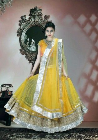 Awesome Yellow Net Lehenga