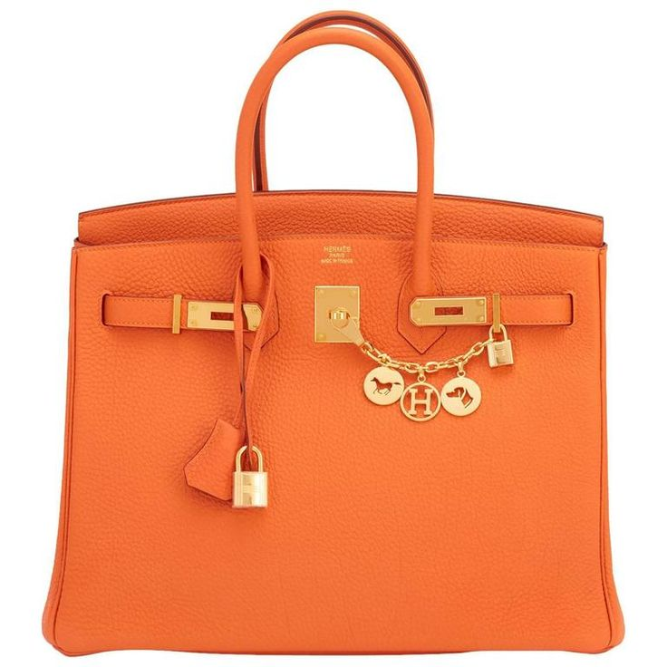Hermes Classic Orange 35cm Birkin Bag Gold Hardware Rare   From a collection of rare vintage top-handle-bags at https://www.1stdibs.com/fashion/handbags-purses-bags/top-handle-bags/