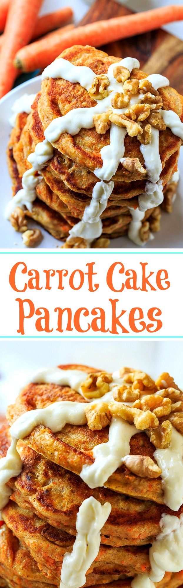 Carrot Cake Pancakes with Cream Cheese Glaze and toasted walnuts.