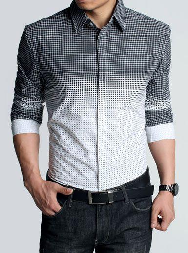 LOVE Kuegou - Long Sleeve Color-Gradient Checked Shirt.