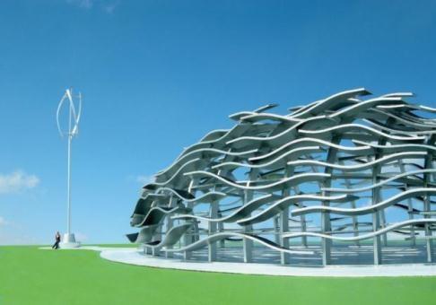 Eco-Wine Pavilion: Arquitetura sustentável gera energia renovável e maximiza a ventilação natural.