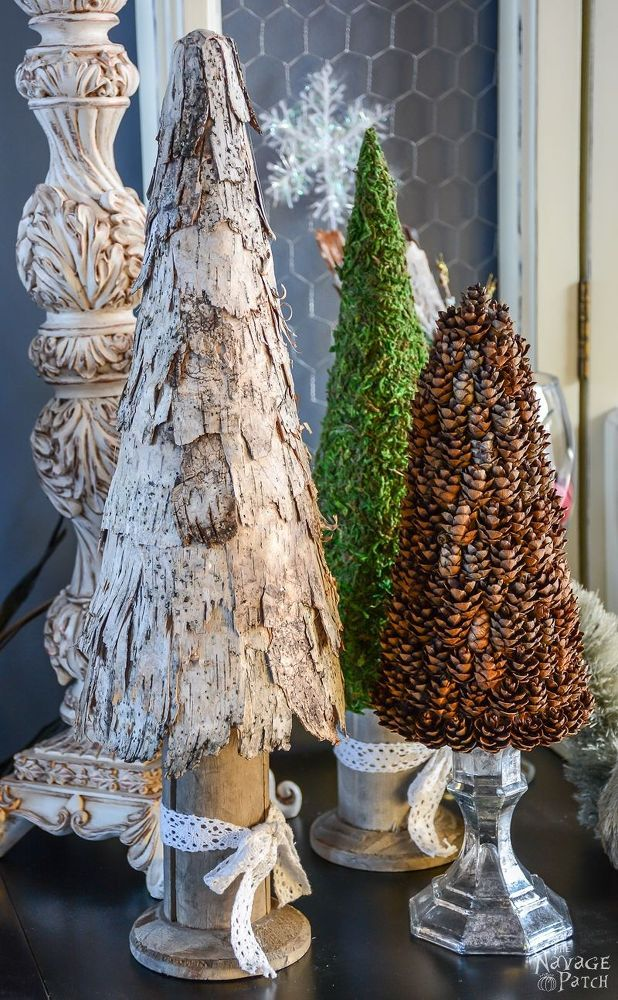 Birch Bark and Pine Cone Trees