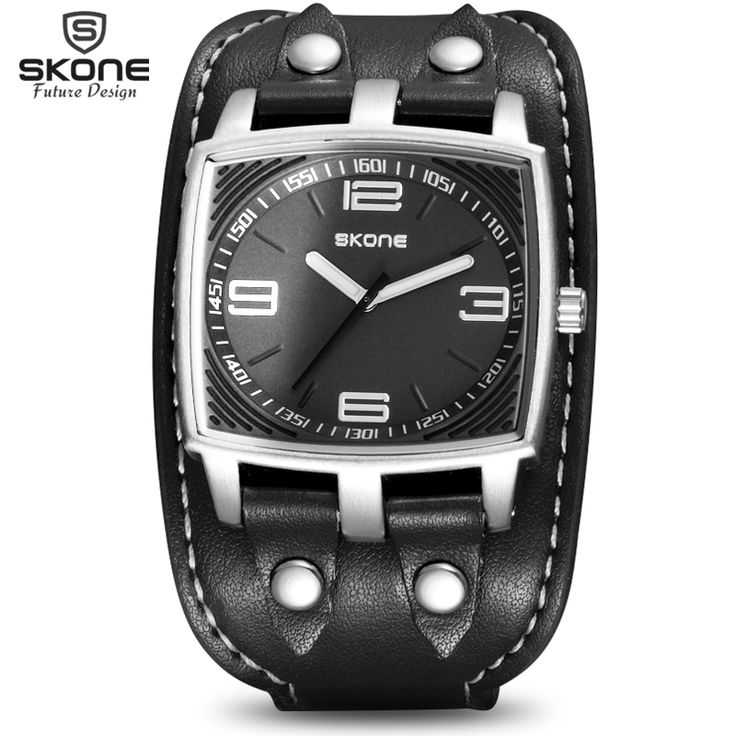 SKONE Punk Style Luxury Brand Military Watches Men Quartz Analog 3D Face Leather Clock Man Sports Watches Relogios Masculino