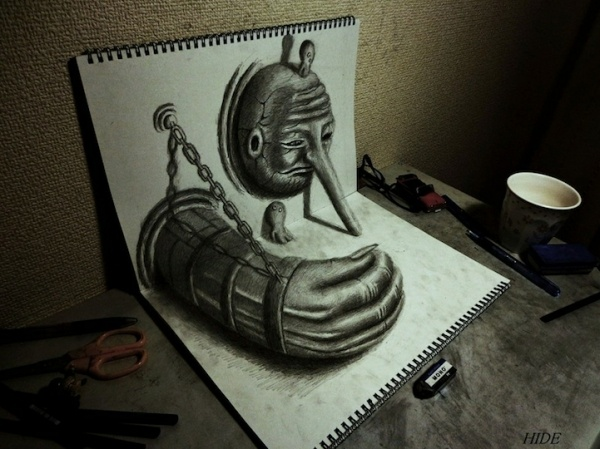 Juxtapoz Magazine Gallery: Nagaihideyuki, 3D Sketch, Nagai Hideyuki, Illustration, 3D Art, 3D Drawings, Pencil Drawing, Illusion, Artist