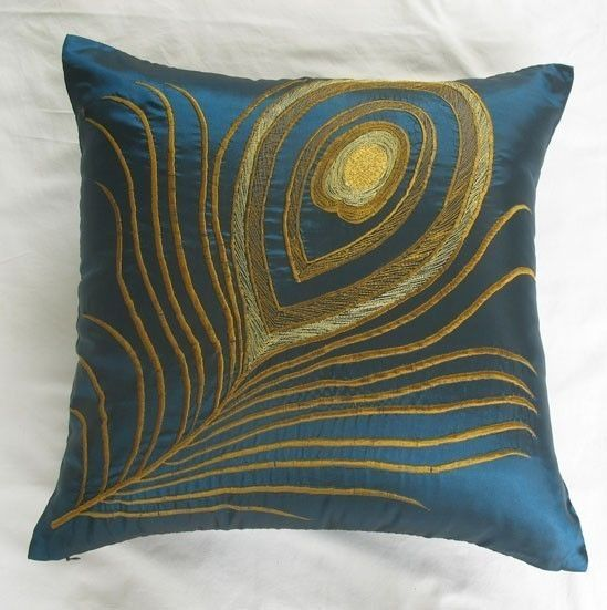 teal blue  decorative throw pillow with peacock by anitanirma, $41.65