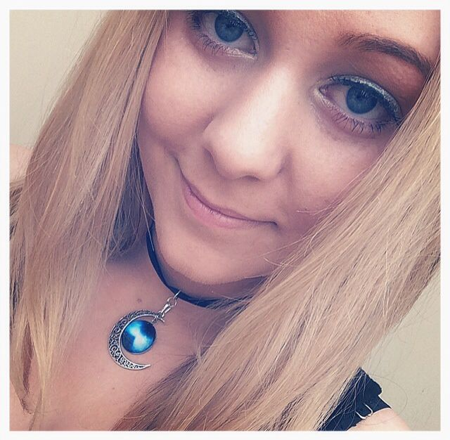 Handmade Choker with Silver Crescent Moon and Blue Glass Galaxy