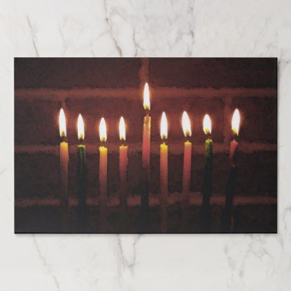 Hanukkah Menorah Candles Holiday Tearaway Placemat - kitchen gifts diy ideas decor special unique individual customized