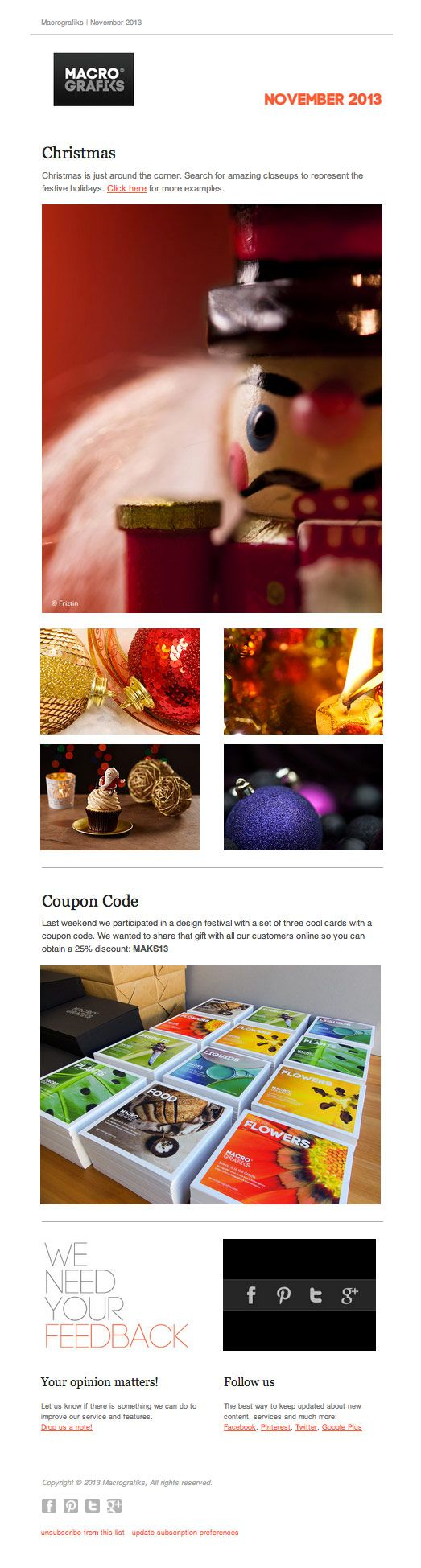 November 2013 Christmas is just around the corner; Coupon Code; Your opinion matters