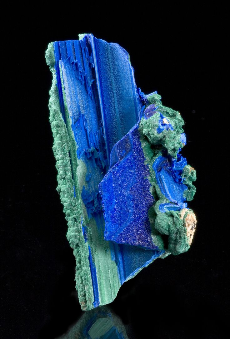 A rare pseudomorph : Azurite and Malachite formed a cast around Selenite which dissolved out and left the crystals hollow. From ApexMine, Jarvis Peak, Beaver Dam Mts., Washington Co. UT