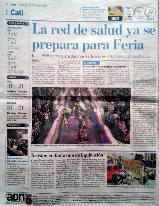 [Prensa -ADN Cali]  Red de Salud ya se prepara para la Feria; HUV trabajará con Plan de Choque (Impreso).
