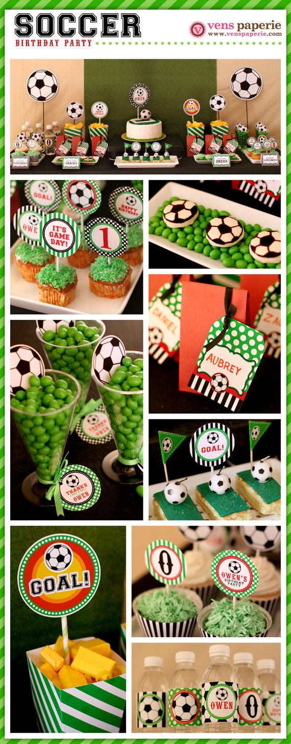 sport soccer party , DIY printables (www.venspaperie.com) Custom print water bottle labels with kids names for party.