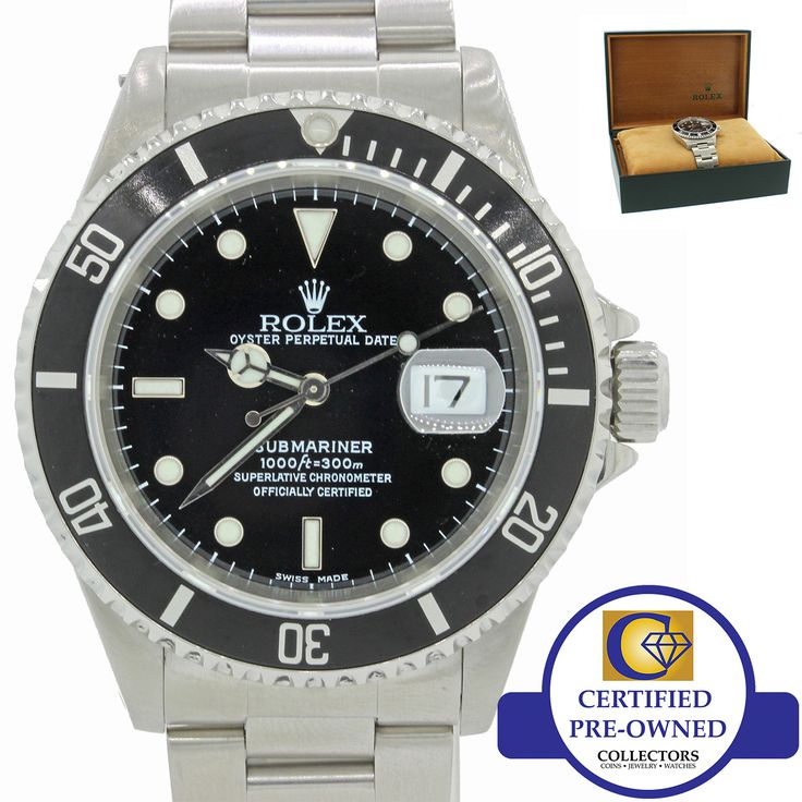 Rolex Submariner Date 16610 A Stainless Steel Black Enamel 40mm Dive Watch w/Box