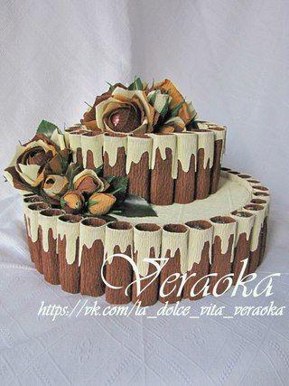 Цветы из гофрированной бумаги, букеты из конфет