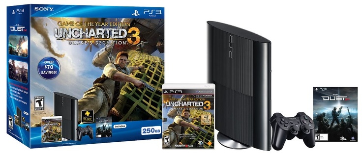 New Slim 250GB PlayStation®3 Uncharted 3:  Game of the Year Bundle. Bundle Contents:  PlayStation®3 System 250GB  Uncharted 3: Game of the Year Edition  Dust 514 game + over $30 of Dust DLC (Voucher)  DUALSHOCK®3 wireless controller  AC Power Cord  AV Cable  USB Cable  Bundle Cost: $269.99 USD http://us.playstation.com/ps3/systems/uncharted3-gameofyear-bundle.html #PS3 #gaming #console