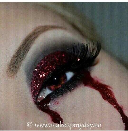 Vampire bleeding glittery eye