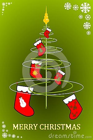 Stylized Christmas tree with red socks. Vector illustration.