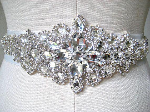 Serious bling wedding dress belt. Bridal wedding beaded crystal sash