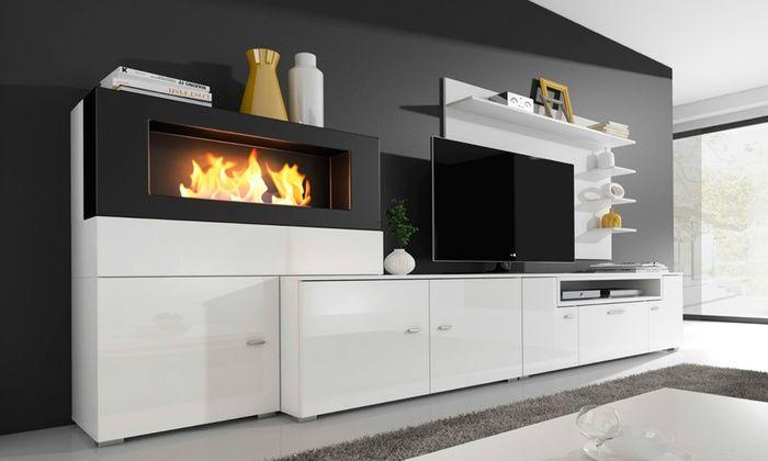 COMFORT Home Innovation Olympo Ensemble de salon avec cheminée pas cher Blanc laqué, Blanc mate prix Meuble TV Rue du Commerce 479.00 € TTC