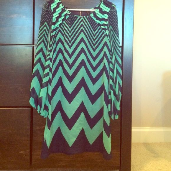 Navy & Mint Chevron Dress Navy & Mint Chevron | gold zipper up back | Navy slip attached | Belt loops attached Fire Los Angeles Dresses Midi