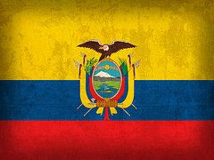 Ecuador Flag Art - Ecuador Flag Vintage Distressed Finish by Design Turnpike