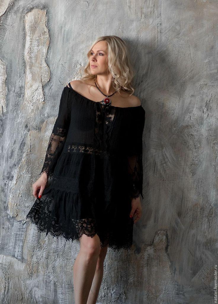"""Купить Маленькое черное платье-туника, кружево хлопок, """"Black&white"""" - черный, маленькое черное платье"""
