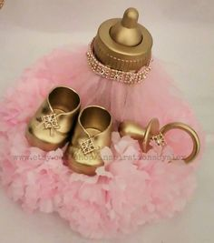 Glamorous baby shower centerpiece! These and more cam be found in mu shop!  Check out this item in my Etsy shop https://www.etsy.com/listing/265485737/royal-centerpiece-pink-and-gold-pink-and