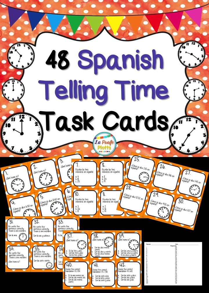 Give students a well-rounded review of telling time in Spanish with these engaging and versatile task cards! So much more fun than a worksheet!