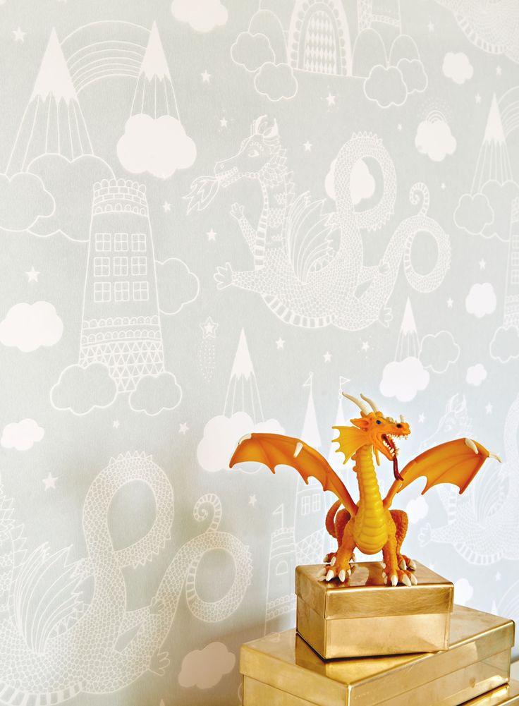 Köp Majvillan Tapet Drakhimlen Grå | Barnrummet På väggen | Jollyroom