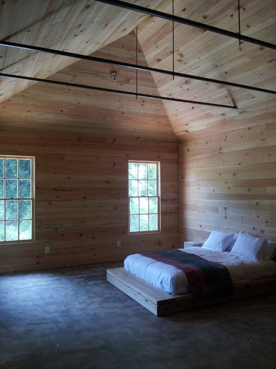 sleek lining for industrial style bedroom interior design with vaulted ceiling striped wooden wall and cement flooring bedroom pinterest wooden walls - Wood Wall Interior Design