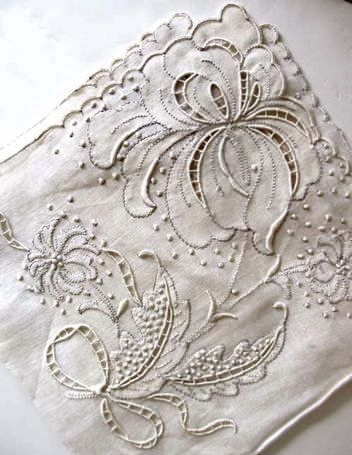 antique embroidered serviette