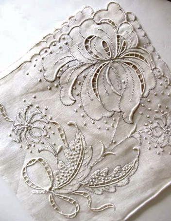 antique embroidered serviette