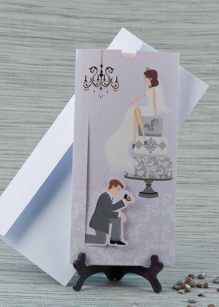 Invitatie de nunta romantica, lila, cu mireasa pe tort.