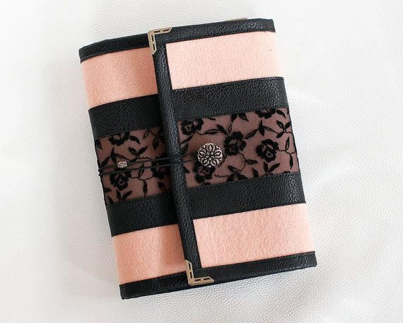 Lace felt filofax organizer/ ring binder agenda/ organiser/ day planner/ journal refillable/ planner cover  A5 with inner pocket dividers