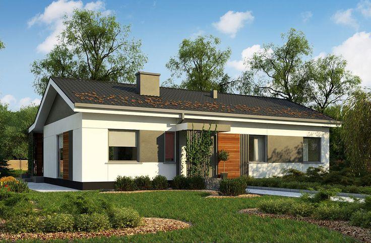 Parterowy dom jednorodzinny o prostej bryle z dachem dwuspadowym i nowoczesną elewacją. #projekty #domów