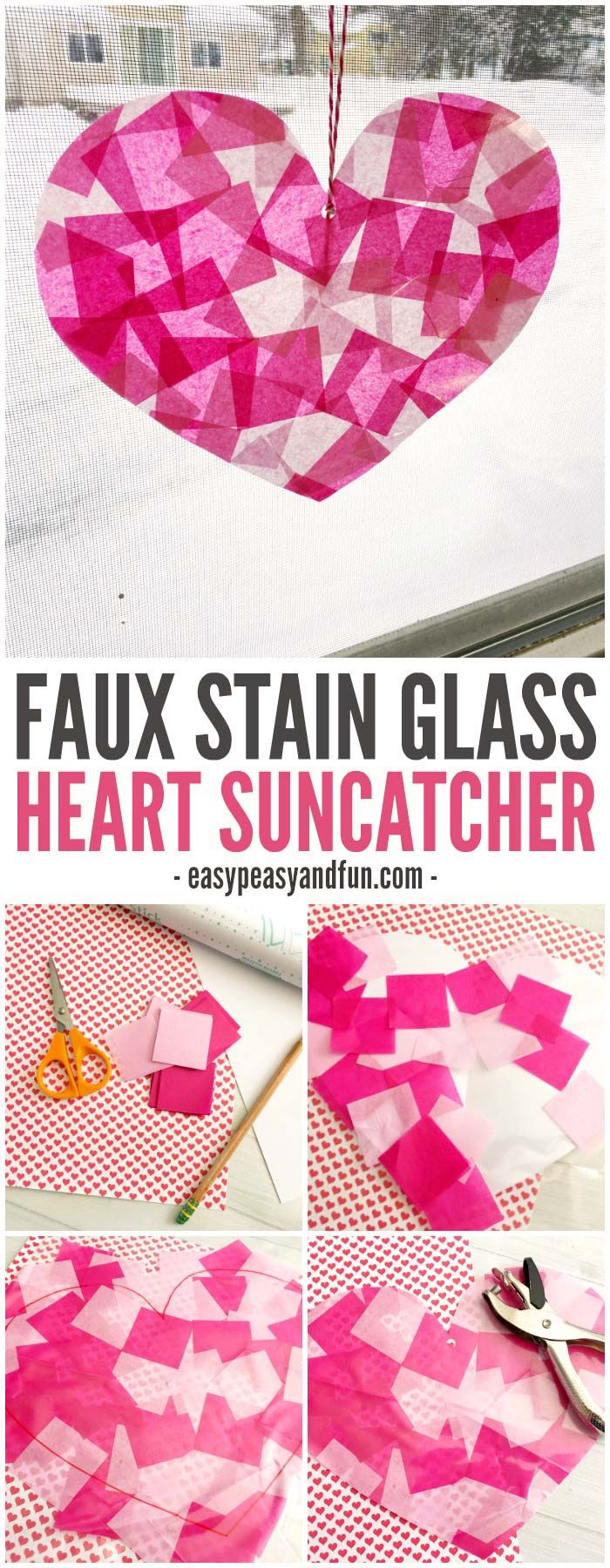 Make these faux stain glass heart suncatchers this February! A great craft to work on scissor skills!