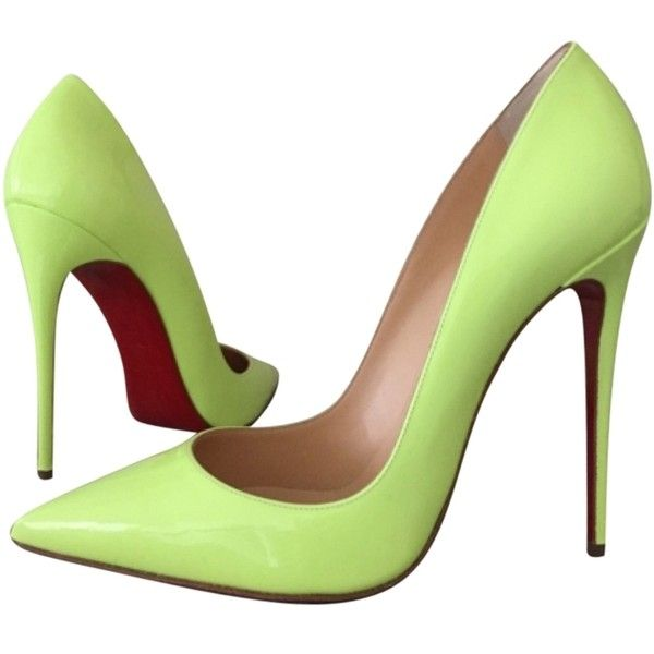 Pre-owned Christian Louboutin So Kate Us8 Eu38 Neon Pumps ($779) ❤ liked on Polyvore featuring shoes, pumps, heels, neon, christian louboutin pumps, neon green pumps, neon patent leather pumps, pre owned shoes and neon green heels pumps