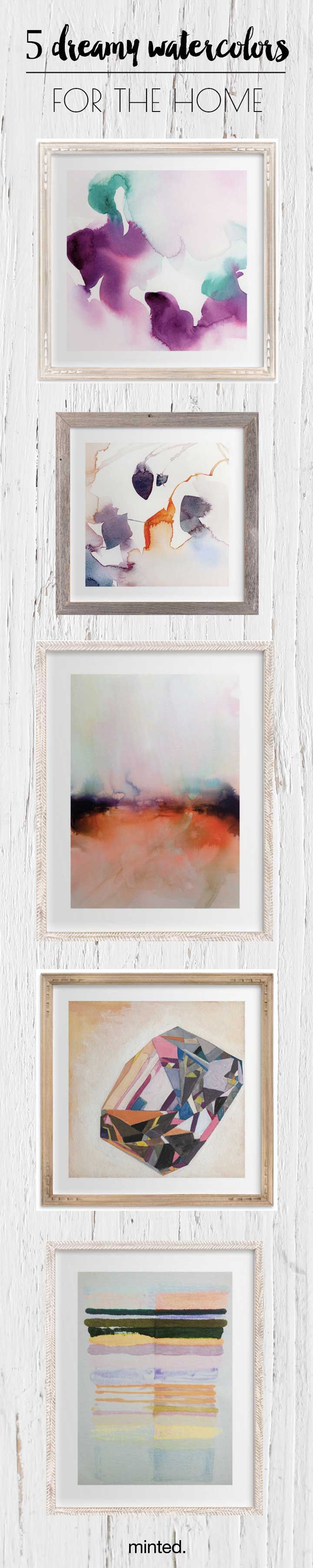Beautiful dreamy watercolor artwork for home.