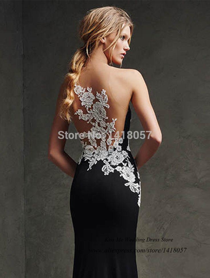 Vestido de Festa Longo Brand 2015 Black Mermaid Formal Evening Gowns White Lace Party Long Elegant Prom Dresses Women Couture
