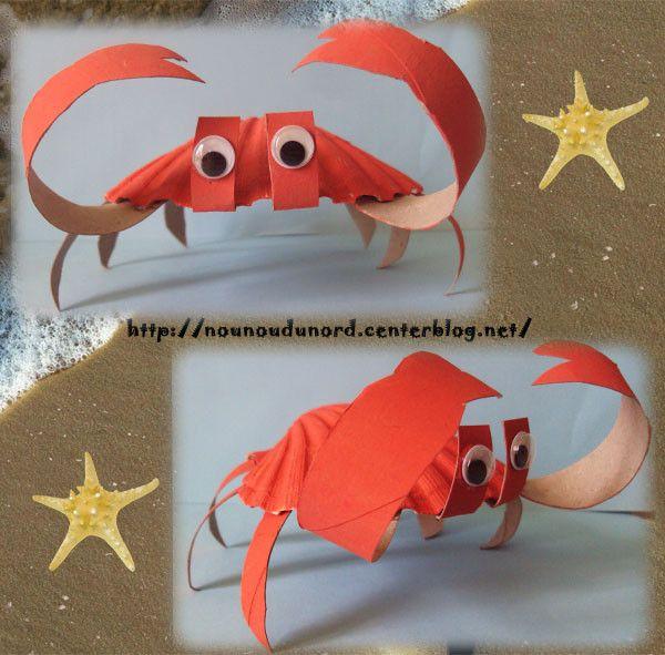 Crabe  réalisé avec une coquille St Jacques , explications sur mon blog http://nounoudunord.centerblog.net/rub-activie-1er-avril-.html