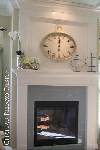 Beadboard above fireplace