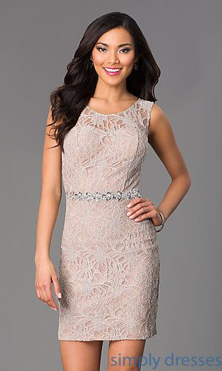 Short Lace Scoop Neck Dress at SimplyDresses.com