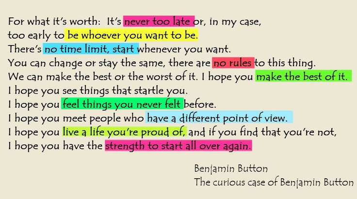 Lights Camera Action Quotes: The Curious Case Of Benjamin Button
