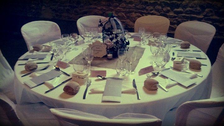 Centre de table champ tre toile de jute cage oiseaux for Decoration table champetre