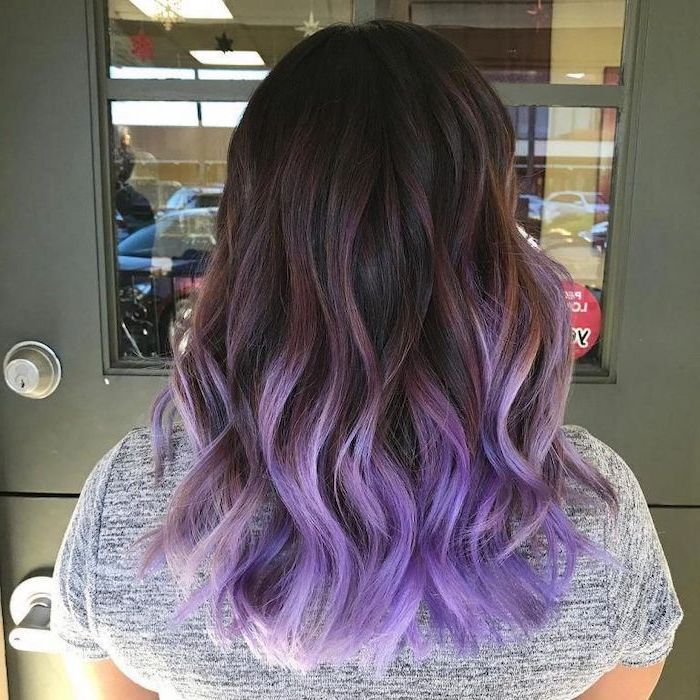 Dark Brown To Purple Grey Shirt Blonde Ombre Hair Medium Curly In 2020 Purple Hair Tips Purple Ombre Hair Ombre Hair