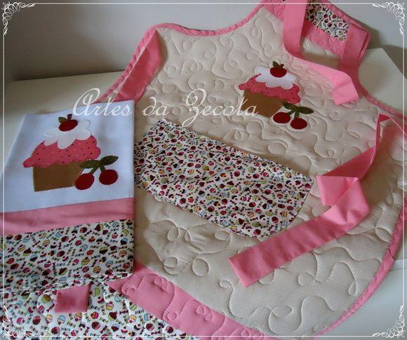 Avental e pano para louça Cupcake