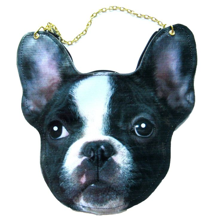 An animal themed cross body shoulder bag made in the shape of a baby French Bulldog's head! Our puppy shaped bag comes with a long gold chain and is handmade!